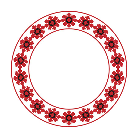 embroidered: Vector illustration of traditional Slavic round embroidered pattern