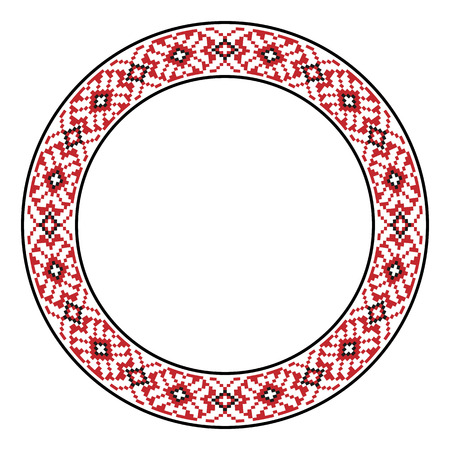 slavic: Vector illustration of traditional Slavic round embroidered pattern
