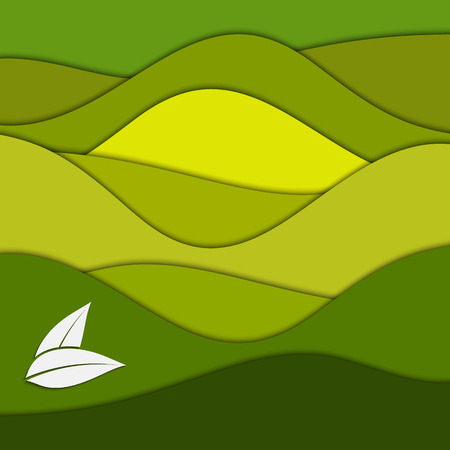 for tea: Tea plantation. Abstract green paper background for your design