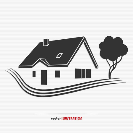 Vector illustration of an abstract countryside real estate for your design Ilustração