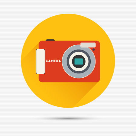 Vector illustration of camera with long shadow for your design