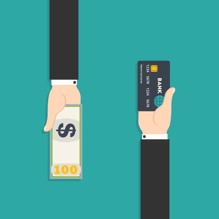 pagando: Ilustración vectorial de la mano con la tarjeta de crédito y dinero en efectivo para su diseño