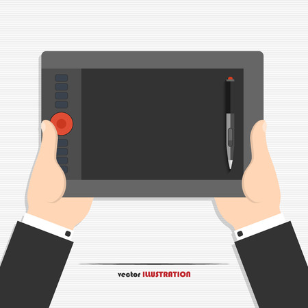 Vector illustration of hands holding graphics tablet for your design Vector