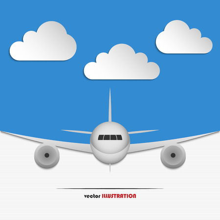 paper plane: Abstract blue background with clouds and landing airplane for your design