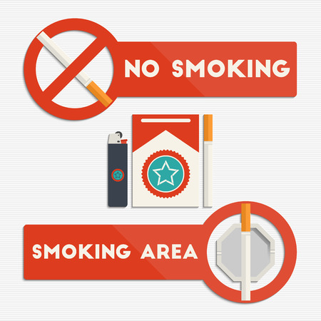 cigarette: No smoking and smoking area signs with cigarettes and lighter for your design