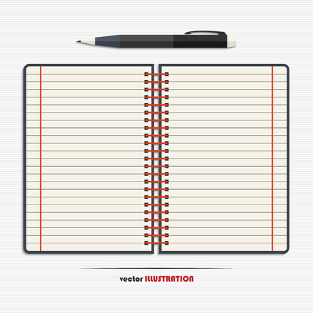 open notebook: Open notebook with blank lined pages and pen for your design