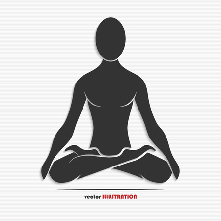 Silhouette of a man in the yoga pose for your design