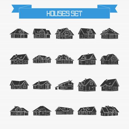 silhouette maison: Vector ensemble de différentes maisons et chalets à votre conception