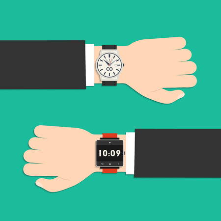 Analog watch and smart watch on businessman's hand. Flat style business background with icons for your design Stock Illustratie