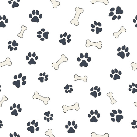 Seamless wallpaper pattern with dogs bones and paws for your design Vector