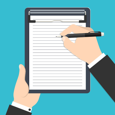 Vector illustration of businessman's hands holding clipboard and writing his report or resume for your design