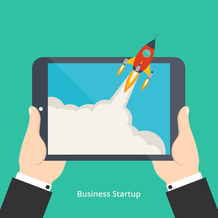 Vector illustration of new business project startup development or launching new product or service for your design Vector