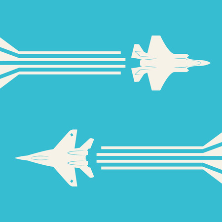 Jet fighter aircrafts flying on sky for your design