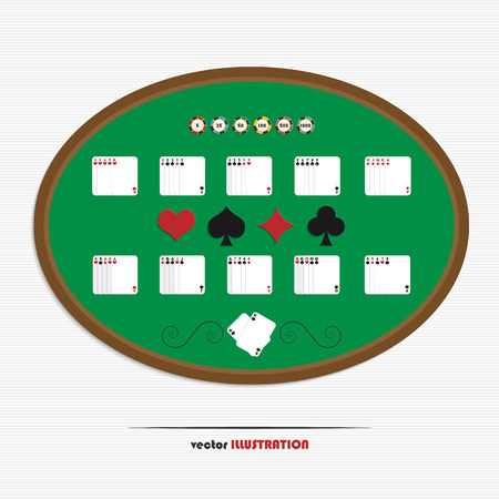 straight flush: Set of poker hands with casino chips for your design Illustration