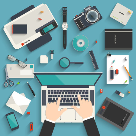 Flat style modern design concept of creative workplace of a designer. Icon set of business work flow items and elements, office things and other objects and equipment for your design Çizim