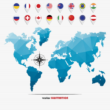 Vector illustration of world map with markers and circle national flags for your design Vector