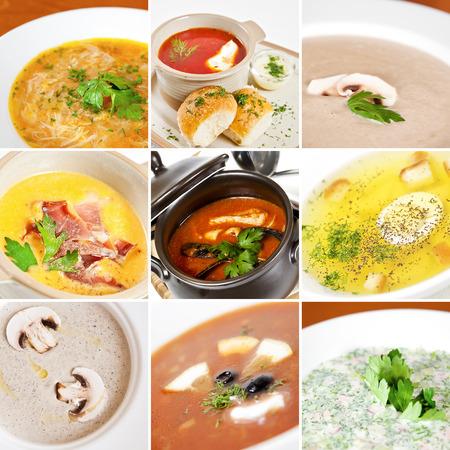 seafood soup: First courses collage including pileshka supa, ukrainian borsch, creamy mushroom soup, pumpkin soup, tomato seafood soup, chicken broth, meat solyanka and okroshka Stock Photo