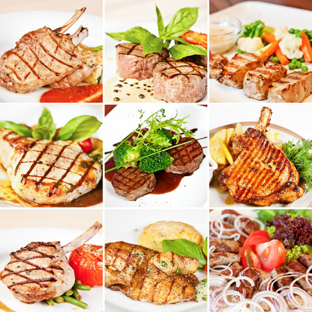 Grill menu collage including grilled veal and pork chops, chicken, veal medallions with vegetables, mutton kebab and pork shashlik