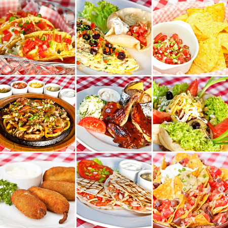 Mexican food collage including taco salad, nachos, deep-fried jalapeno chili peppers, vegan nachos, barbecue chicken, fajitas and cheddar quesadillas