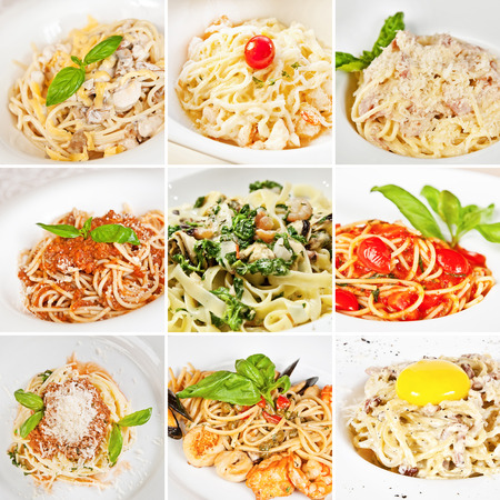 linguine pasta: Various pasta collage including spaghetti Carbonara, spaghetti Bolognese and linguine pasta Stock Photo