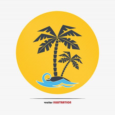 coco: Resumen isla desierta con palmeras para su diseño Vectores