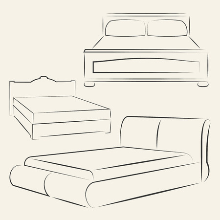 Vector silhouettes of different beds for your design Vector