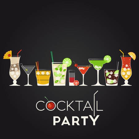 Vector set of different alcohol cocktails. Pina Colada, Dry Martini, Screwdriver, Mojito, Bloody Mary, Cosmopolitan, Margarita, Cuba Libre, Tequila Sunrise. Cocktail party invitation poster for your design Ilustração