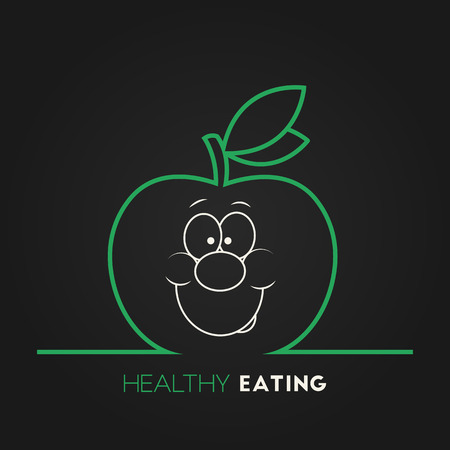 Vector illustration of green ripe apple with smiley face for your design Vector