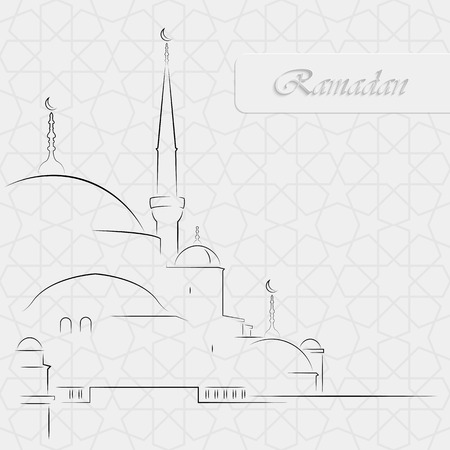 Vector Illustration of Mosque on seamless decorative background for holy month of muslim community Ramadan Kareem