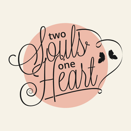 Two souls one heart hand lettering for your design Stock Illustratie