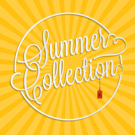 hand lettering: Summer collection hand lettering with sale tag for your design Illustration