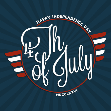 Fourth of july. Happy independence day hand lettering for your design