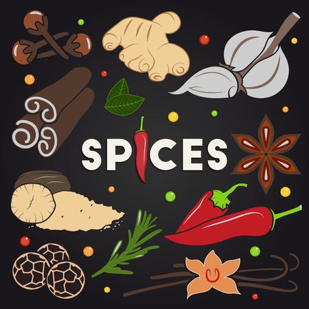 black pepper: Vector set of different herbs and spices on black background for your design. Cloves, ginger, garlic, cinnamon, mint, anise, nutmeg, rosemary, chili, black pepper and vanilla