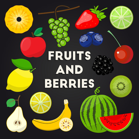 lemons: Vector set of different fresh organic fruits and berries for your design. Pineapple, grapes, strawberry, lime, apple, bilberry, cherry, blackberry, lemon, kiwi, pear, banana and watermelon