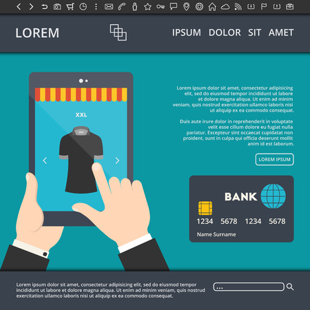 tshirt design: illustration of flat style web design template with man buying t shirt with credit card on internet Illustration