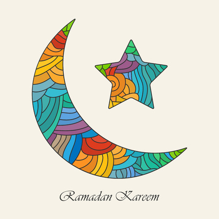 kareem: Crescent moon and star for holy month of muslim