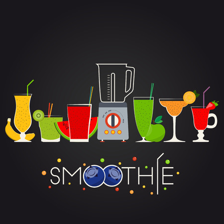 juice: illustration of fruit smoothie set