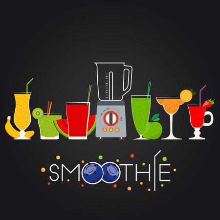 illustration of fruit smoothie set