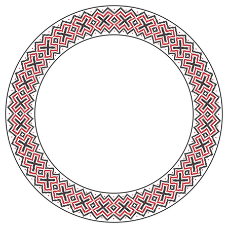 embroidered: illustration of traditional Slavic round embroidered pattern Illustration