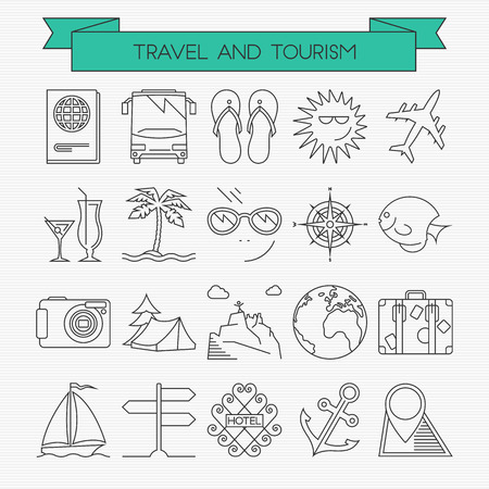 Travel line icons set. Passport, bus, slippers, sun, airplane, cocktails, dessert island, glasses, compass, exotic fish, camera, camping, hiking, planet, bag, sailing, directions, hotel, anchor, map Vector