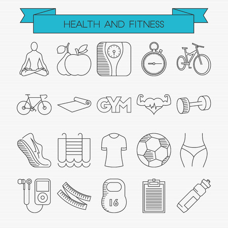 waist weight: Health and fitness line icons set. Yoga, calories, weight, stopwatch, cycling, camping mat, gym, cardio, dumbbells, jogging, swimming, uniform, football, waist, music, tape measure, schedule, water