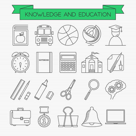 binder clip: Education line icons set. Book, bus, basketball, globe, graduating student, alarm clock, notebook, calculator, school building, stationery, brain, bag, first place medal, binder clip, bell and laptop Illustration