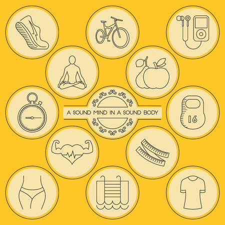 measure waist: Health and fitness. Round outlined icons set. Jogging, cycling, good music, yoga, healthy eating, stopwatch, dumbbels, cardio, tape measure, waist, swimming, uniform