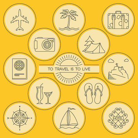 tree world tree service: Travel and tourism. Round outlined icons set. Airplane, dessert island, luggage, camera, camping, passport, hiking, cocktail party, slippers, compass, sailing and hotel