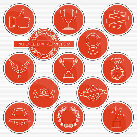 medal like: Trophies and awards. Red round line icons set for your design