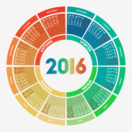 calendrier: Colorful rondes calendrier 2016. semaine commence le lundi