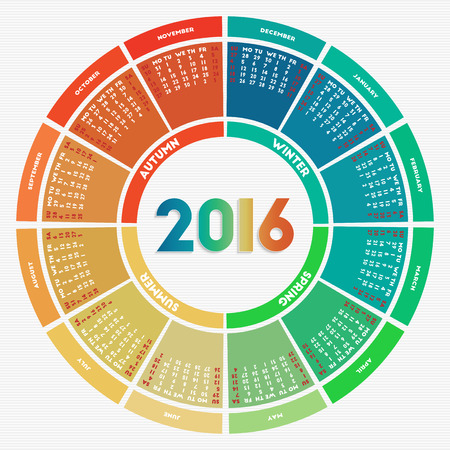 calendar: Colorful round calendar 2016. Week starts on Sunday