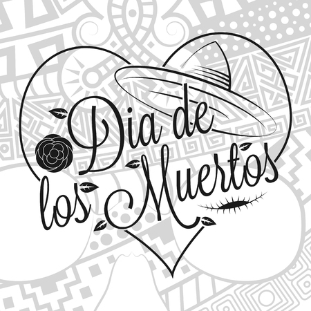 Dia de los muertos lettering with zentangle style human skull background for the Day of the dead