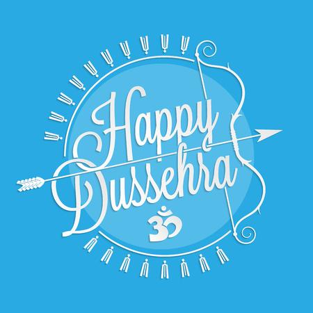 demonio: Letras feliz Dussehra para el diseño de tarjetas de felicitación Vectores