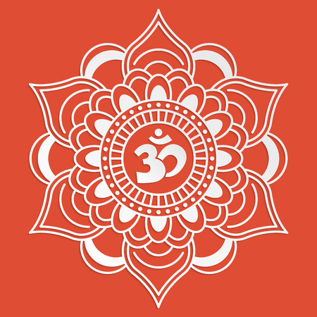mantra: Om symbol with decorative indian ornament Mehndi for your design